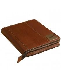 "Zip around leather desktop size planner / organizer- ,,the brown book"" MA-v2 Series, Brown."