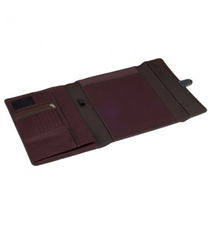 Brown Leather Trifold Portfolio with Lock SQ036A4