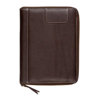 Brown leather zip around padfolio Style - SQ037B5
